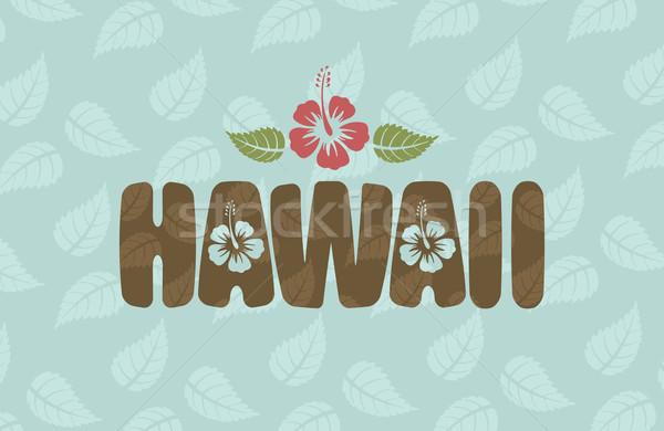 Vector Hawai palabra hibisco flores hojas Foto stock © Elisanth
