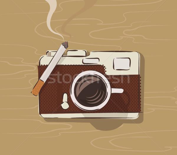 Vector top koffiemok sigaret retro Stockfoto © Elisanth