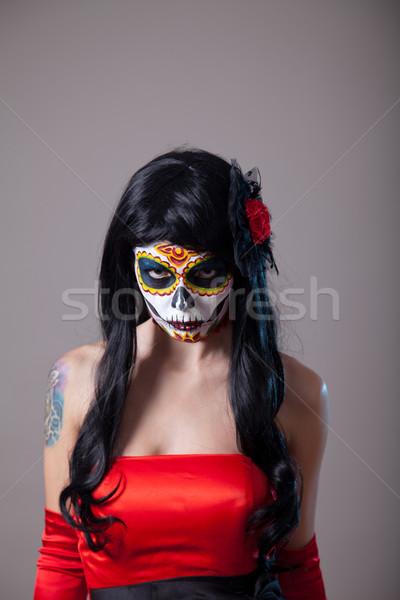 Jonge vrouw suiker schedel halloween make Stockfoto © Elisanth