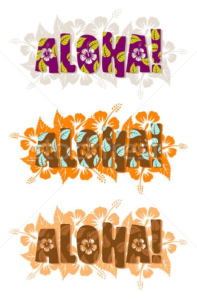 Aloha szó kézzel rajzolt szöveg levél kék Stock fotó © Elisanth
