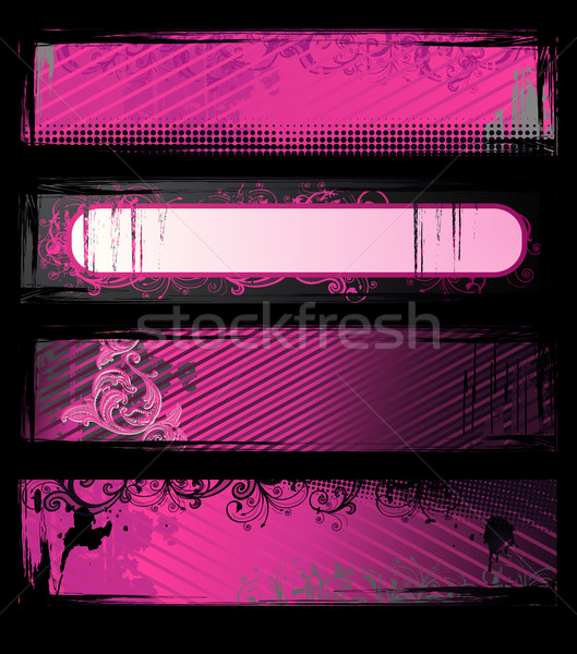 набор вектора розовый Гранж Баннеры цветочный Сток-фото © Elisanth