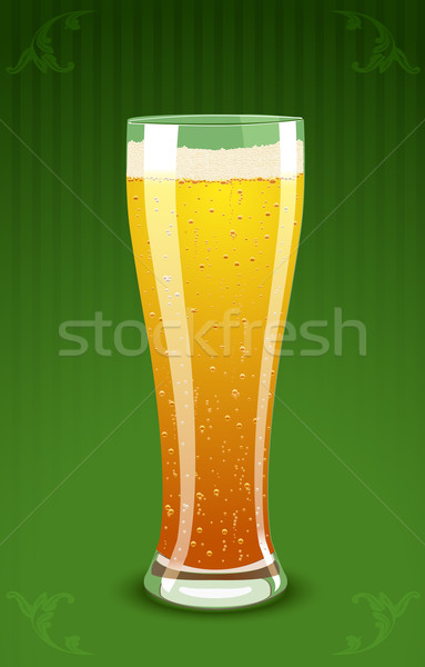 Vector illustration of a beer glass on green background Stock photo © Elisanth