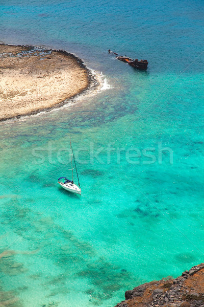 Beautiful tropical lagoon with yacht and pirate ship   Stock photo © Elisanth