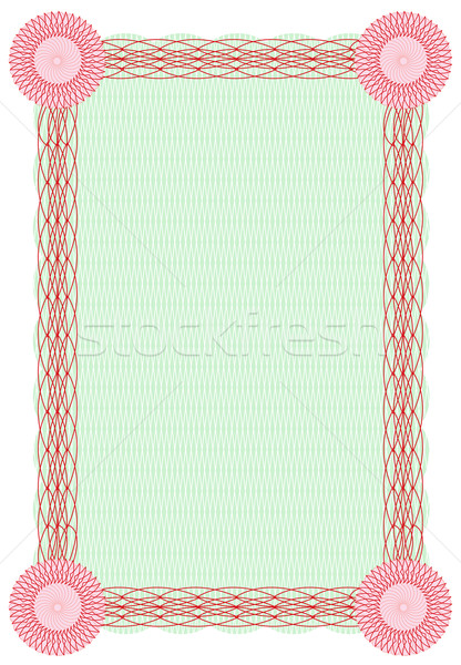Vector guilloche green and red border for diploma  Stock photo © Elisanth
