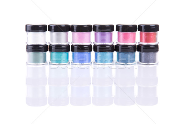 Two rows of loose eye shadows in plastic jars  Stock photo © Elisanth