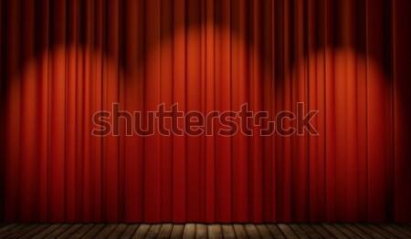 Zdjęcia stock: 3D · etapie · czerwony · kurtyny · miejscu
