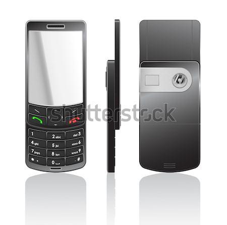 Fekete mobiltelefon vektor illusztráció technológia telefon Stock fotó © Elisanth