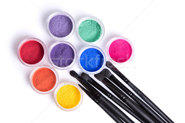 Set of bright matte mineral eye shadows and brushes  Stock photo © Elisanth