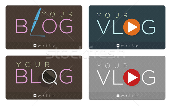 Vector set of blog and vlog icons  Stock photo © Elisanth