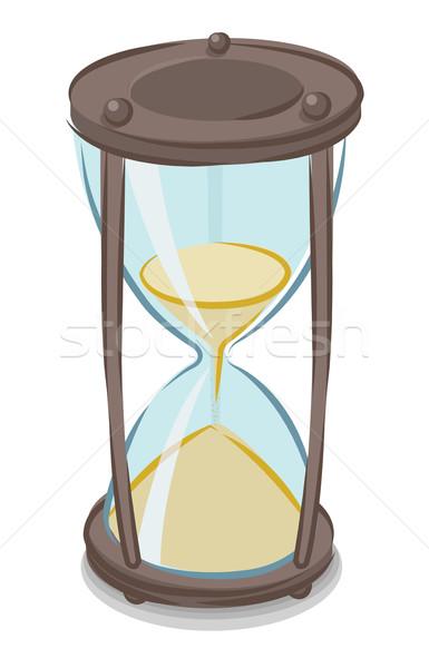 Kum saati karikatür stil saat cam sanat Stok fotoğraf © Elisanth