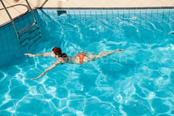 молодые женщину плаванию Бассейн тело Сток-фото © Elisanth