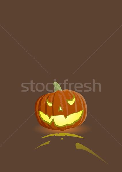 Kwaad pompoen donkere bruin achtergrond oranje Stockfoto © Elisanth