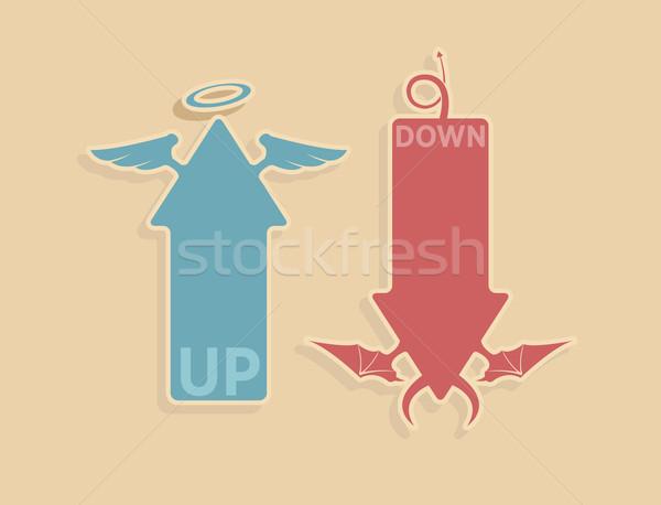Stock fotó: Vektor · felfelé · lefelé · nyilak · menny · pokol