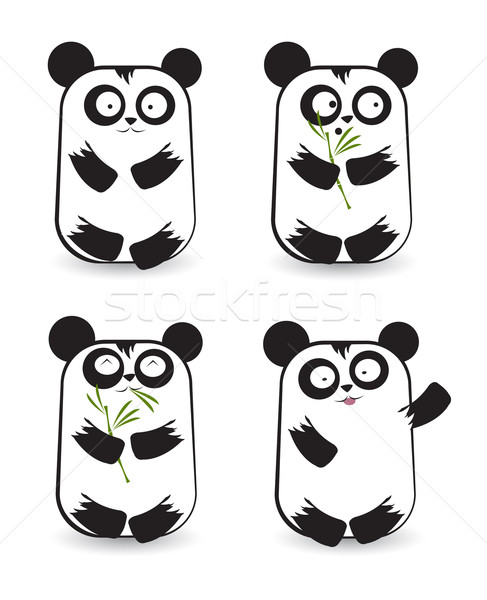 Stockfoto: Vector · ingesteld · cute · panda · beren · verschillend