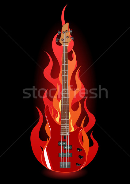 Vector illustration of bass guitar in flames Stock photo © Elisanth