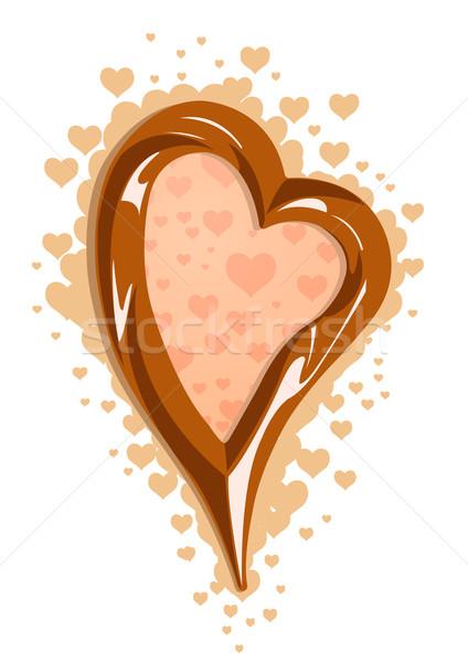 Vector illustration of milk chocolate heart frame Stock photo © Elisanth