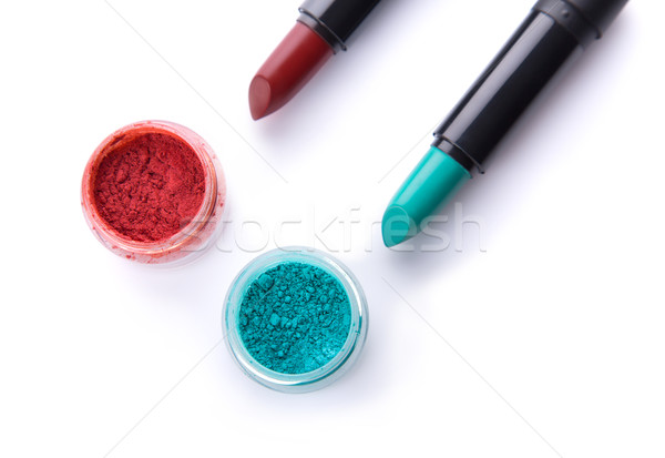 Top view of lipsticks with matching eye shadows  Stock photo © Elisanth