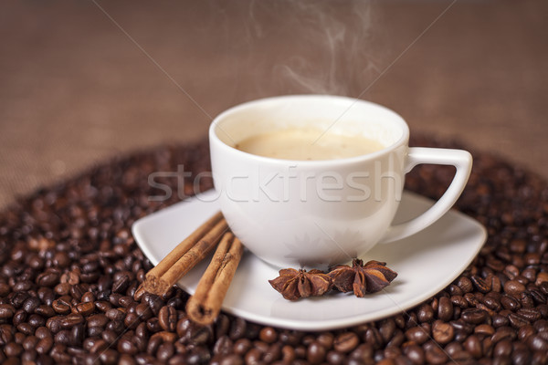Cup of latte or cappuccino with cinnamon and anise  Stock photo © Elisanth