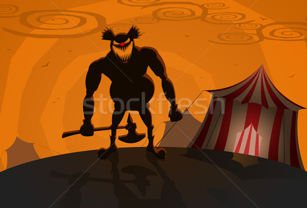 Stock photo: Vector evil clown with circus on background