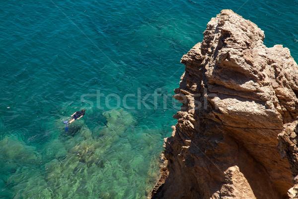 Man snorkelen middellandse zee zee Blauw water Stockfoto © Elisanth