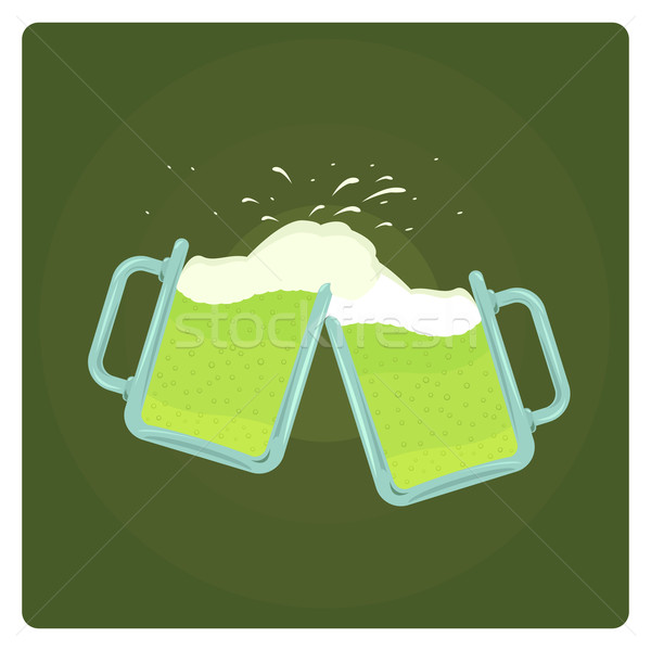 Vector illustration of two beer mugs splashing  Stock photo © Elisanth