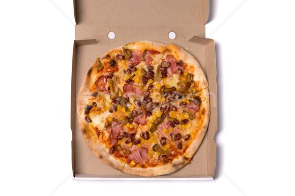 üst görmek lezzetli pizza domuz pastırması mantar Stok fotoğraf © Elisanth