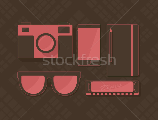 Vector set of objects in hipster style  Stock photo © Elisanth