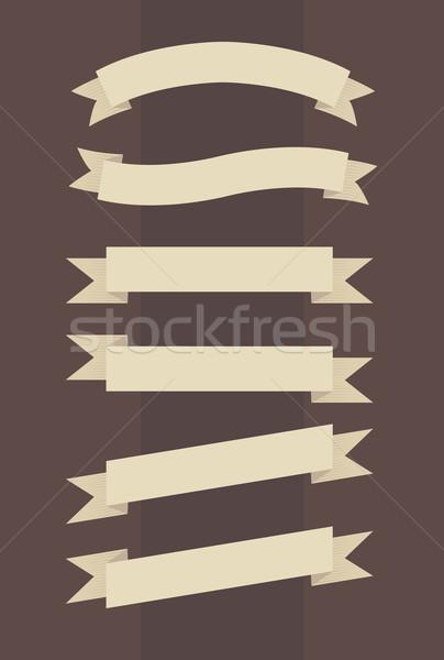 Vector ingesteld vintage banners gegraveerd stijl Stockfoto © Elisanth