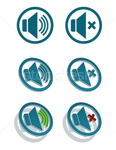 Vektor egyszerű hangszóró ikonok szett technológia Stock fotó © Elisanth