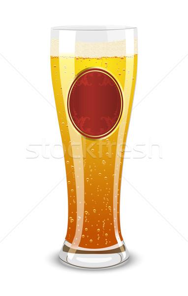 Stock fotó: Sör · üveg · címke · fehér · ital · piros
