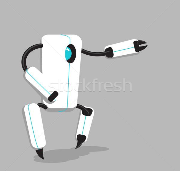 Vektör siyah beyaz robot gri soyut bilim Stok fotoğraf © Elisanth