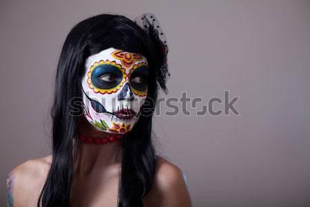 Сток-фото: Хэллоуин · сахар · череп · девушки · красную · розу · день