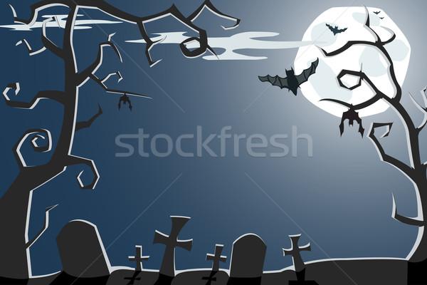 Vektör halloween örnek korkutucu gece mezarlık Stok fotoğraf © Elisanth
