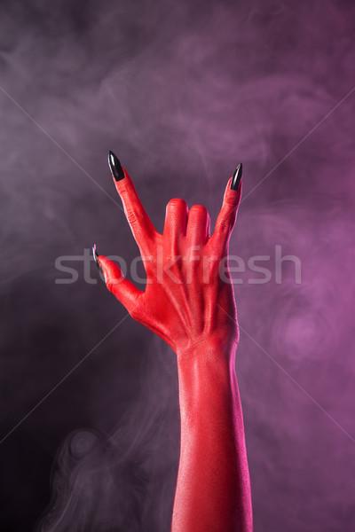 重金属 ジェスチャー 赤 悪魔 手 黒 ストックフォト © Elisanth
