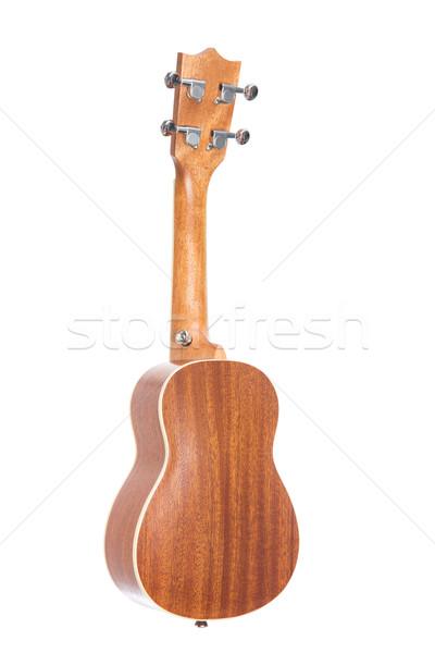 Arkadan görünüm gitar yalıtılmış beyaz ahşap geri Stok fotoğraf © Elisanth