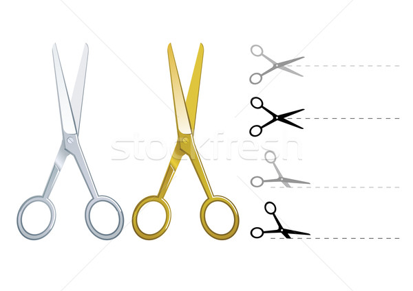 Set of vector silver and gold scissors Stock photo © Elisanth
