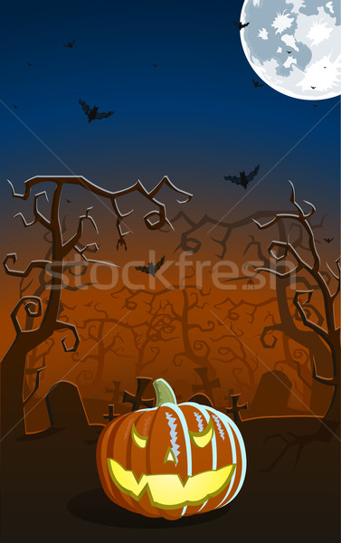 Vector illustration of scary pumpkin on the grave  Stock photo © Elisanth