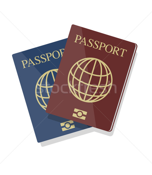 Vector illustration of blue and red biometric passports with glo Stock photo © Elisanth