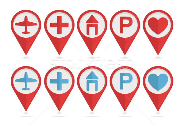 Vector set of pointers with icons  Stock photo © Elisanth