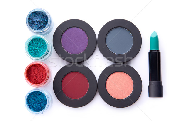 Set of loose and pressed eyeshadows, and lipstick  Stock photo © Elisanth