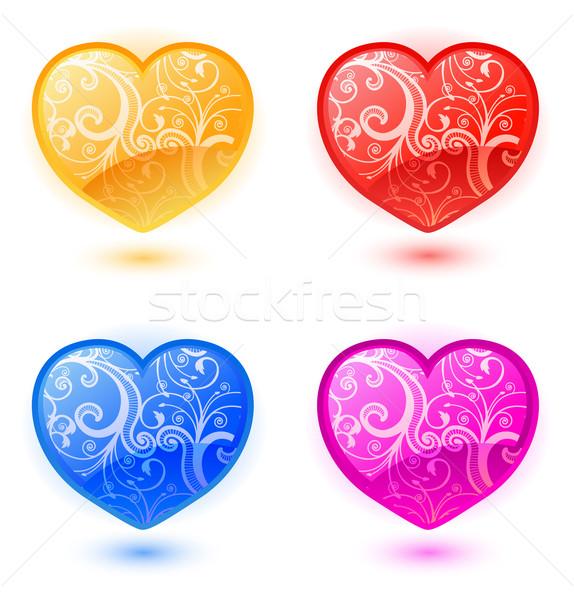 Ayarlamak vektör kalpler renkli valentine Stok fotoğraf © Elisanth