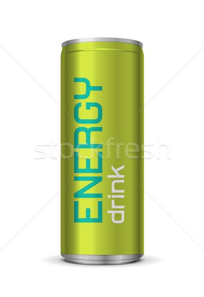 Energiaital konzerv izolált fehér zöld szín Stock fotó © Elisanth