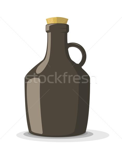 Vector illustration of dark bottle with cork  Stock photo © Elisanth