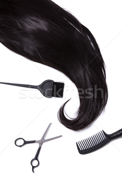 Black silky hair, hair dye brush, scissors, and hairbrush  Stock photo © Elisanth
