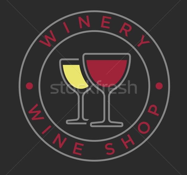 Vecteur linéaire style verres à vin Winery étiquette Photo stock © Elisanth