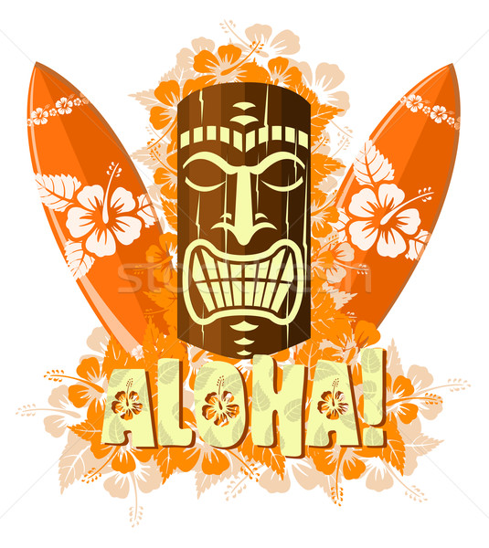 Vector illustration of orange tiki mask with surf boards  Stock photo © Elisanth