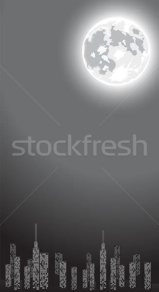 ночь город копия пространства Небоскребы полнолуние здании Сток-фото © Elisanth