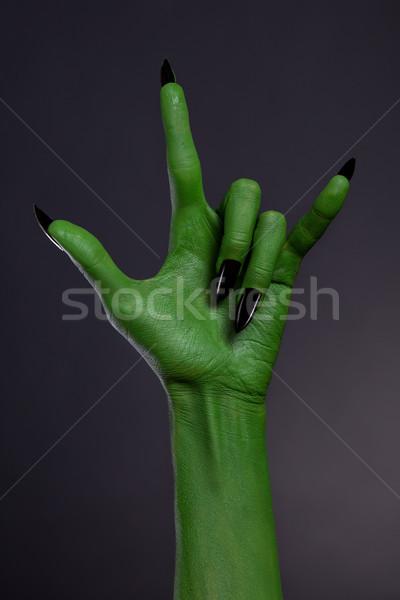 Verde mão preto unhas heavy metal Foto stock © Elisanth