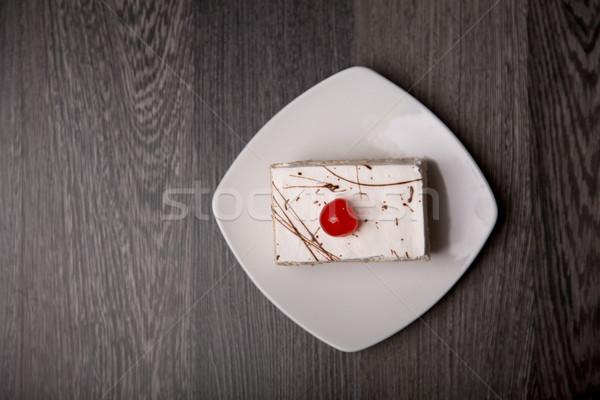 Kremsi kek kiraz üst görmek beyaz Stok fotoğraf © Elisanth