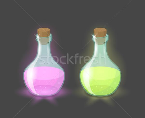 Vektör büyü şişeler pembe yeşil içecekler Stok fotoğraf © Elisanth